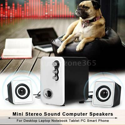 Mini Stereo Sound Wired Speaker Subwoofer USB Powered Audio Computer Tablet S4F1