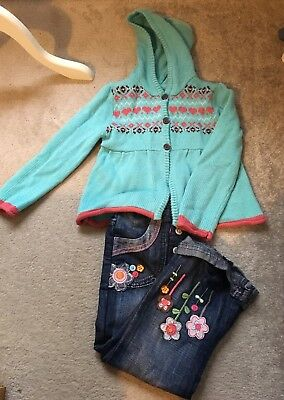 Girls Age 3-4 Pumpkin Patch Cardigan And Mini Mode Jeans.