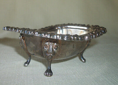 Antique Wb Silver Silver Plate Bowl Lion Face Legs Lion Paw Feet Bowl Hallmarked