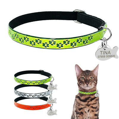 Reflective Cat Collar Pu Leather Elastic Collars With Kitten Name Engraved Tag