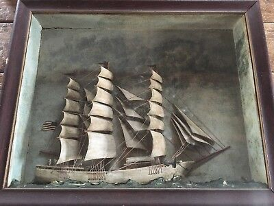 Antique American 19thC Ship Diorama Exceptional Carving