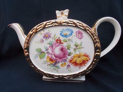 Very Pretty Large Sadler Barrel Shaped Floral Teapot Pink Rose Nicely Gilded