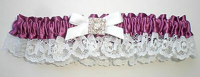 Amethyst (Violet Purple) Satin & Lace Garter: prom, weddings, home coming, toss