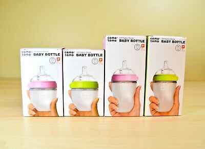 Comotomo Natural Feel Baby Bottle in 5oz/8oz and Pink/Green