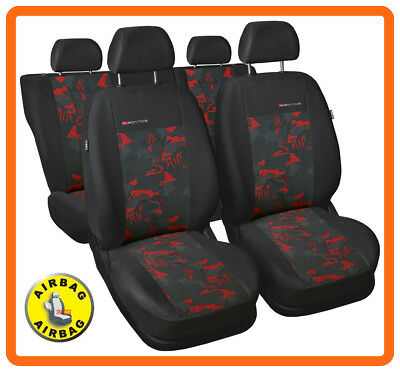 Car seat covers for Audi A4 full set - charcoal grey/red Verlour