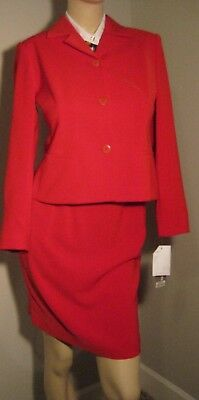 NWT Jones New York 4 Petite Jacket Skirt Red Suit $240 Holiday Must Have!