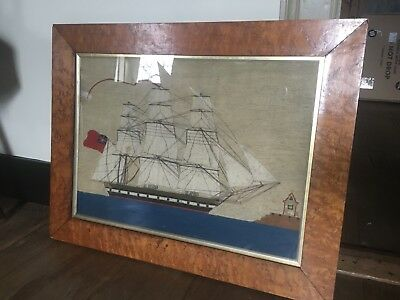 Antique 19thC Sailor's Wooly Woolwork Needlework