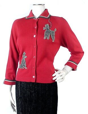 Vintage 50s Red Novelty Sweater w/Gray Faux Fur Sequined Poodle Dog Appliques