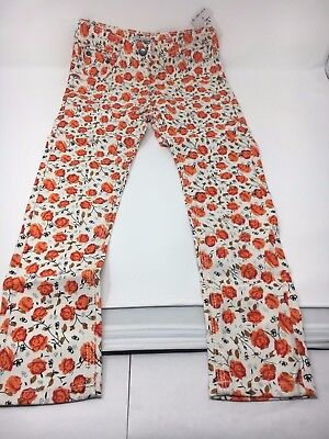 New with tag girl's white floral patterned jeans size 10 Okaidi