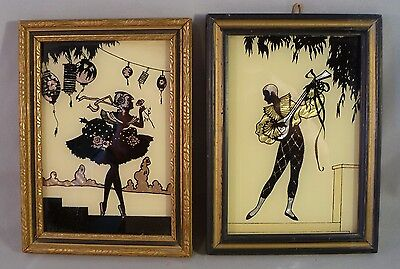Pair Vintage 1930's Art Deco Silhouettes, Harlequin & Columbine, Butterfly Wing
