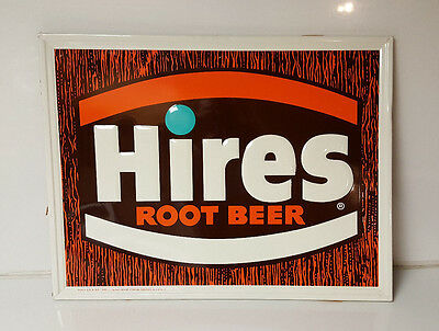 "Vintage Hires Root Beer Sign NOS! c1970's  20""x26"" Automobile Roadside Man Cave"