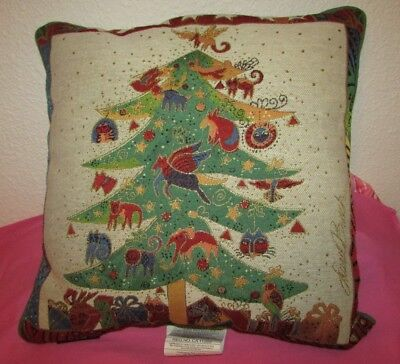 Laurel Burch Christmas Cat Tree Pillow Tapestry  Green
