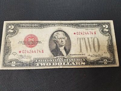1928 D Star $2 Red Seal ***star*** Error $2 Two-Dollars Large Two