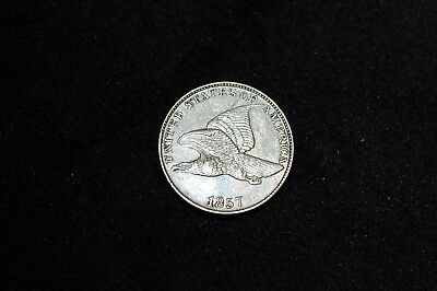 1857 1C Flying Eagle Cent great eye appeal AU ++