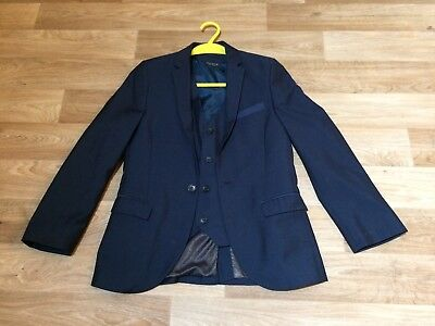Next Boys Blue Suit Jacket & Waist Coat Age 10 Years