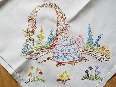 Old/vintage tablecloth hand embroidered with ladies in crinoline dresses