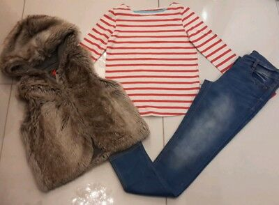 11/12 Years Girls Next Fur Bodywarmer Jeans And Long Sleeved Top