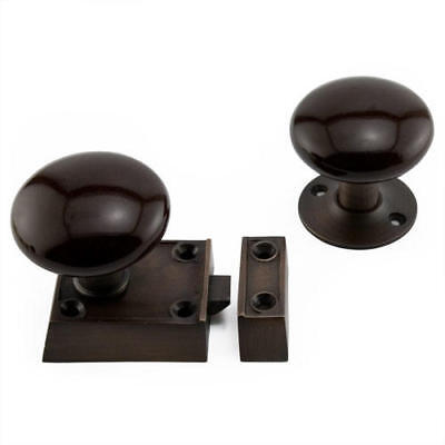 Signature Hardware Small Solid Brass Rim Latch Set with Brown Porcelain Knobs