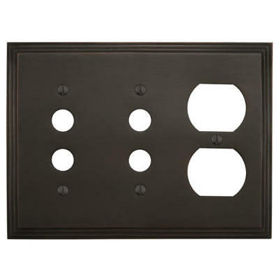 Signature Hardware Deco Design Solid Brass Double Push Button and Outlet Plate