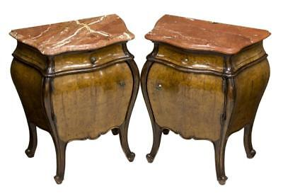 (2)ITALIAN LOUIS XV STYLE BURL BOMBE BED SIDE CABINETS , early 1900s