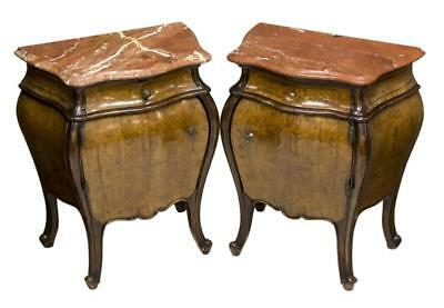 STUNNING (2)ITALIAN LOUIS XV STYLE BURL BOMBE BED SIDE CABINETS , early 1900s