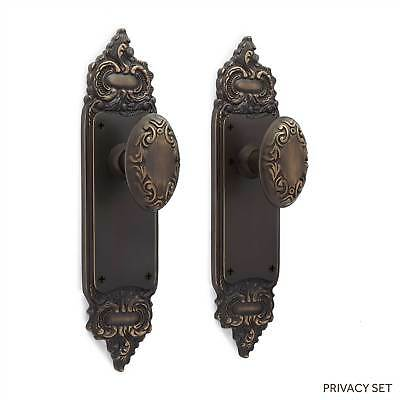 Roselyne Decorative Door Plate and Victorian Oval Set Dummy  Privacy  Passage