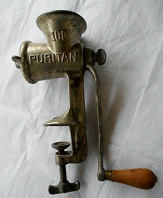 Antique Puritan 100 Hand Crank Meat Grinder with 2 Plates USA