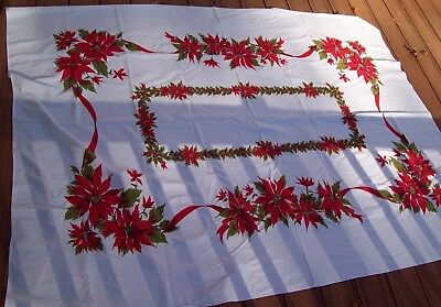 VTG 1950s oblong cotton tablecloth Christmas Poinsettias Flowers Holly Boughs 78