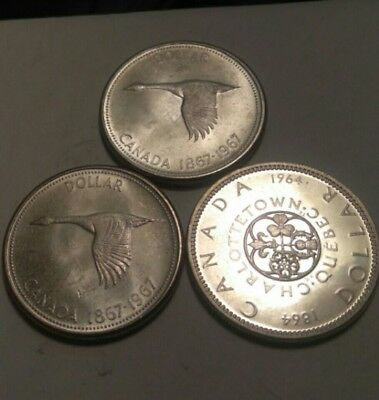 Lot of 3 Coins, CANADIAN  SILVER dollars.