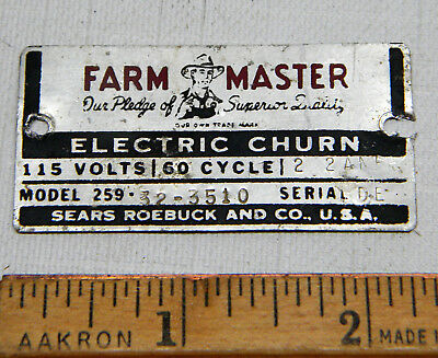 Sears Farm Master Electric Churn Aluminum Name Identification Plate Label