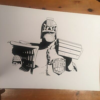 2000AD JUDGE DREDD signed A3 ink sketch by 2000ad  artdroid  Lee Carter