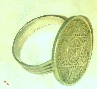 Morocco amazing old Tribal Berber Silver Ring with ancient coin
