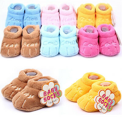 Baby Girl Boy Anti-slip Cartoon Newborn Foot Cover Shoes Coral Velvet Boots GUT