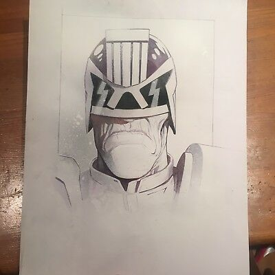 2000AD JUDGE DREDD signed A3 sketch by 2000ad  artdroid  Lee Carter