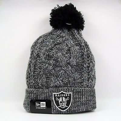 New Era Men's NFL Oakland Raiders Grey Cable Knit Beanie Hat - One Size