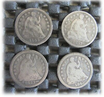 Seated Liberty Half Dime 90% Silver 1/2 Dime Four (4) Coins
