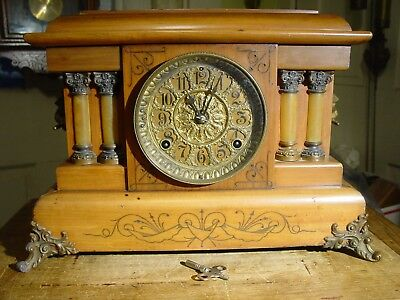 "Antique Rare Seth Thomas 1904 ""roslyn"" Butterscotch Adamantine  Mantel Clock"