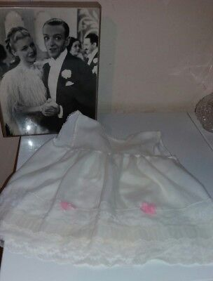 Vintage Babies White & Pink Dress Nylon Basil Brush By Caprice 12-18 M 60S 70S