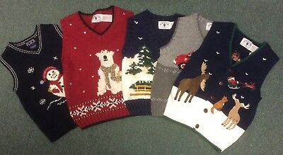 Lot of 5 Boys Children's Place Kitestrings Sweater Vests Holiday Winter 3T 4T 5