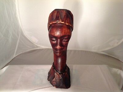 Vintage Hand Carved African Head Wood Carved Sculpture Face Statue