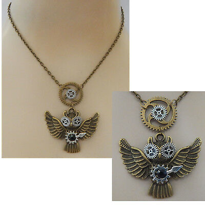 Gold Steampunk Owl in Flight Pendant Necklace Jewelry Handmade NEW Adjustable