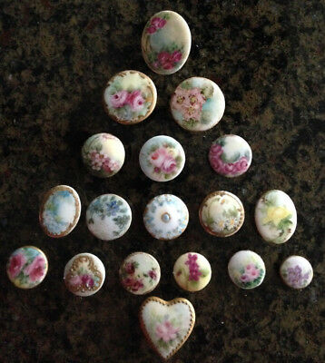 Antique Handpainted Porcelain Stud Buttons Lot of 18 From An Estate Collection