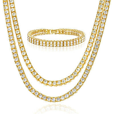 """16"""" / 20"""" Choker Double Tennis Chain 8"""" Bracelet SET  Iced Gold / Silver Toned"""