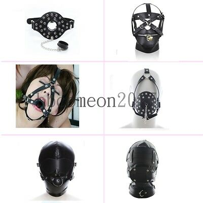 Black series Leather  Bondage Hood Mouth Gag Blindfold Full Head Mask Restraints