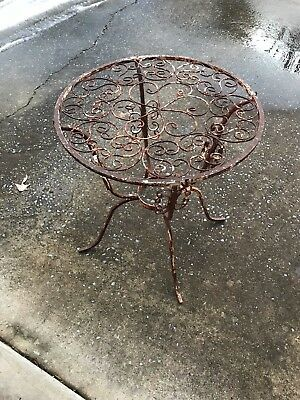 Vintage Iron Outdoor Table Shabby Chic Peeling Crackly White Paint Rusty Patio
