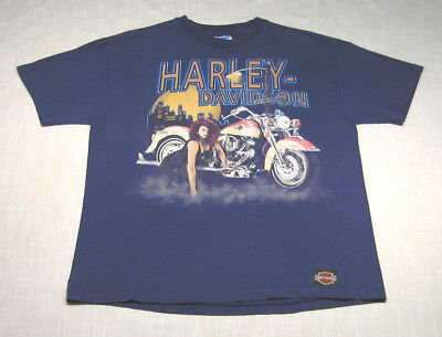 Vintage HARLEY DAVIDSON Motorcycle T-Shirt (1992) On The Prowl SEXY! WOW! L