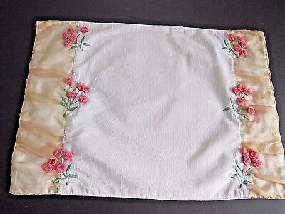 Vintage Light Pink Pillow Sham/Cover with raised Pink rosettes 18 X 13~Feminine