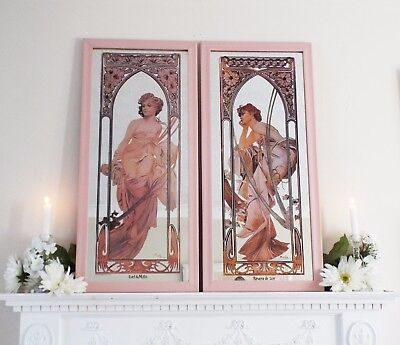 Mucha Mirrors, Pair of Vintage Art Deco Style Mirrors, Two Framed Mucha Ladies