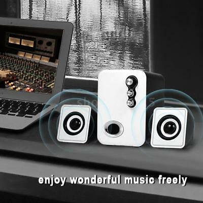 White Portable Computer Wired Speakers USB Stereo Audio Subwoofer Laptop PC N7O5