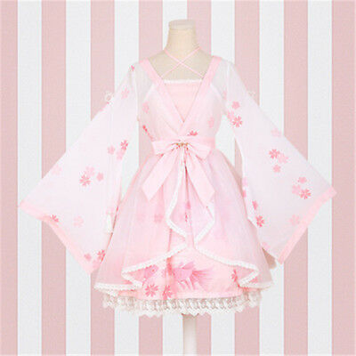 Lolita Dress Cosplay Chinese Print Bow Chiffon Embroidery Long Sleeves Skirt